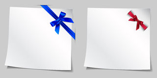 Set of two illustrations paper under the ribbon with a bow Royalty Free Stock Photography