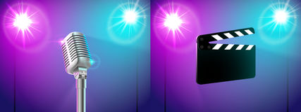 Set of two illustrations slate, microphone in the light of two spotlights Stock Photos