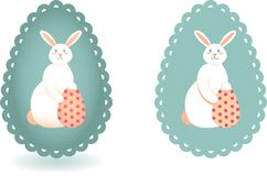 Set of two images of Easter Bunny and egg with polka dot pattern vector illustration