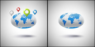 Set of two images of the globe with markers geolocation Stock Images