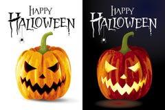 Set of two Jack-o-lanterns greeting card Stock Image