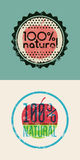 Set of two labels 100% Natural. Grunge rubber stamp for 100 percent natural product. Vector design. Eps 10. Stock Photos