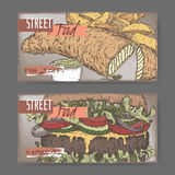Set of two landscape banners with fish, chips and hamburger color sketch. On grunge background. British and American cuisine. Street food series. Great for Stock Image