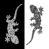 Set of two lizards. Vector set of two lizards, painted artistic lines in ethnic style. It can be used in textile printing, engraving, invitations, postcards Royalty Free Stock Image