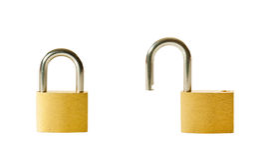 Set of two locked and unlocked locks Royalty Free Stock Image