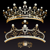 Set of two luxury golden tiaras and crown with pearls Stock Image