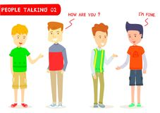 Set of two men talking about ` How are you ? `. Two men character talking, Young guy, Gestures, I`m fine, Stylized cartoon character, Cartoon for education stock illustration