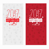 Set of two modern style red gray color scheme new year greetings cards. On light-gray and red background with gray elements and red snowflakes. Flat design Royalty Free Stock Photography