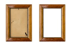 Set of two old wood picture frames with passepartout. Isolated on white stock images