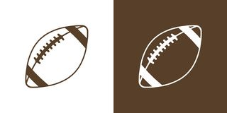 A set of two options for simple icons, contour, balls for American football. On white and brown background royalty free illustration