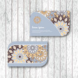 Set of two ornamental floral mandala cards, visiting template, b Stock Images