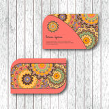 Set of two ornamental floral mandala cards, visiting template, p Stock Photos