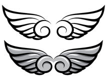 Set. two pairs of wings. Black and colored Royalty Free Stock Photography