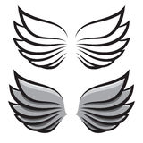 Set. two pairs of wings. Black and colored Royalty Free Stock Image