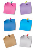 Set two paper note with push pin stock illustration