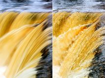 Short and long exposures of a waterfall Royalty Free Stock Photo