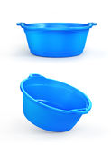 Set of two plastic basin in different view, isolation on a white Stock Image