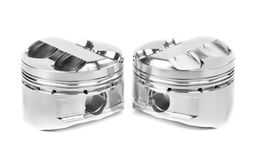 Set of two polished forged pistons Stock Photos