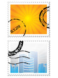Set of two post stamps on white. Background Stock Photography