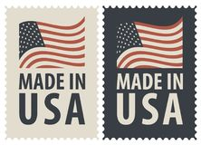 Set of two postage stamps with American flag. Set of two postage stamps with the words Made in USA and image of the American flag. Vector illustration of stamps Royalty Free Stock Photo