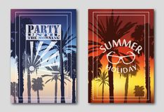 Set of two posters, silhouettes of palm trees against the sky. Logo, morning, party. Sunglasses, sunset.. royalty free illustration