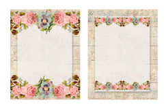 Set of two Printable vintage shabby chic style floral rose stationary on wood background Royalty Free Stock Photo