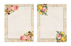 Set of two Printable vintage shabby chic style floral rose stationary on wood background Royalty Free Stock Photography