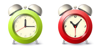 Set of two realistic alarm clock Royalty Free Stock Photos
