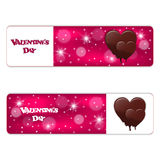 Set of two red horizontal festive banner with white dies and melting chocolate hearts. Vector Stock Images
