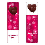 Set of two red vertical festive banner with white dies and melting chocolate hearts. Vector Royalty Free Stock Photos