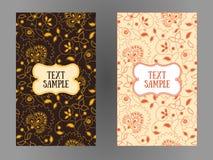 Set of two retro vintage decorative invitations. Royalty Free Stock Photo