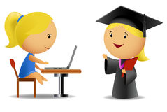 Set of two schoolgirls with computer and diploma vector illustration