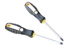 Set of two screwdrivers. Against white background Stock Photo