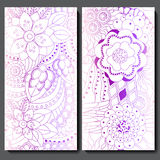 Set of two seamless floral doodle pattern. stoc  illustrat Stock Photos