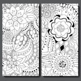 Set of two seamless floral doodle pattern. stoc  illustrat Stock Photo