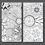 Set of two seamless floral doodle pattern. stock  illustrat Stock Photo