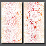 Set of two seamless floral doodle pattern. stock  illustrat Royalty Free Stock Photos