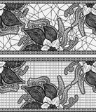 Set of two seamless lace ribbon. Black floral pattern. Royalty Free Stock Photos