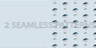 Set of two seamless patterns in blue color vector illustration