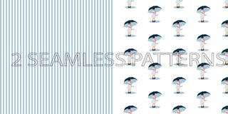 Set of two seamless patterns in blue color stock illustration