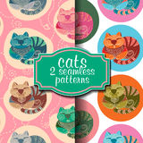 Set of two seamless patterns with cats Stock Photo