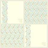 Set with two seamless vector patterns and two seamless border cards with vintage print arabesque floral design Stock Images