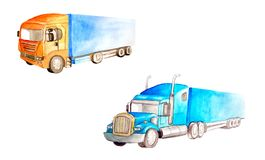 Set two semi trucks lorry of different colors, truck models and designs on a white background isolated in watercolor. Style stock illustration