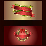 Set of two separated christmas and new years banners with wreath Stock Images