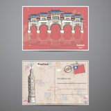 Set two sides of a postcard with the image Taiwans attractions Stock Image