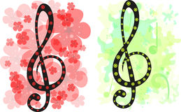 Set of two stylized treble clef backgrounds Royalty Free Stock Images