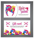 Set of two templates of gift cards with color ornament for print or website. vector illustration. Gift card design Royalty Free Stock Image