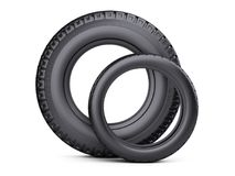Set of two tires. New car wheels for cars and trucks - front view Royalty Free Stock Photo