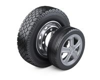 Set of two tires. New car wheels with disk for cars and trucks. Stock Photography