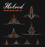 Set of two tone vintage pin striping line art vector illustration
